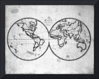 Black and White World Map (1821)