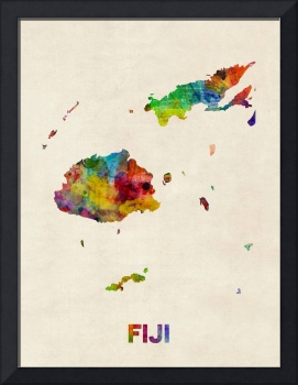 Fiji Watercolor Map