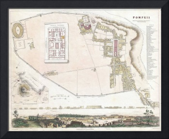 Vintage Map of Pompeii Italy (1832)