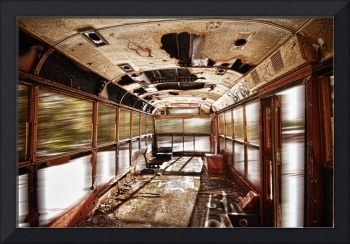 Old Rusty School Bus In Motion HDR