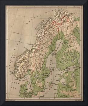 Vintage Physical Map of Norway and Sweden (1880)