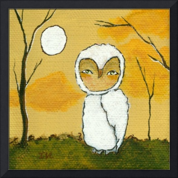 Evening Stroll, Whimsical White Owl,Landscape Art