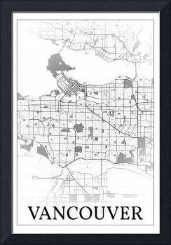 Vancouver, Canada, city map print.