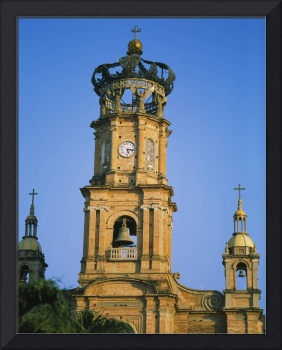 Low angle view of a bell tower of a cathedral