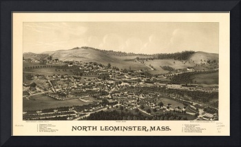 1887 North Leominster, MA Birds Eye Panoramic Map