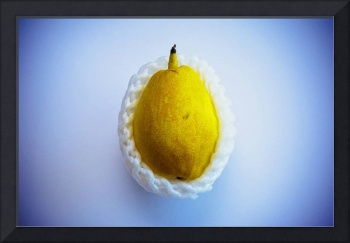 Yellow pear wrapped in styrofoam