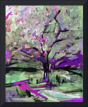 Abstract Art Tree in Bloom by Ginette