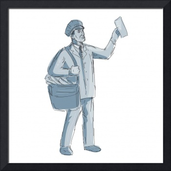 Vintage Postman Holding up Letter Drawing