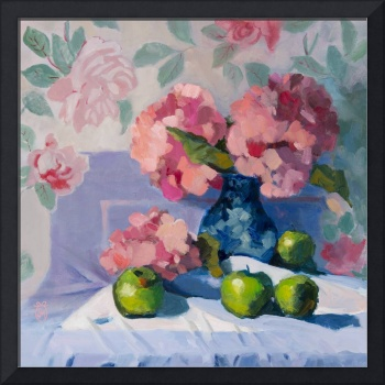 Pink Hydrangeas & Green Apples