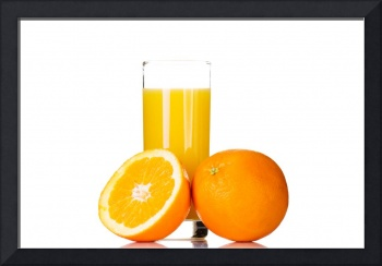 Fresh orange juice, isolated on white