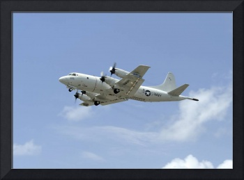 A P-3C Orion aircraft takes off from Marine Corps