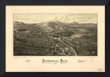 1886 Haydenville, MA Birds Eye View Panoramic Map