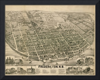 Vintage Pictorial Map of Fredericton New Brunswick