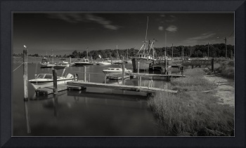 Rock Harbor Fishing Boats Black and White