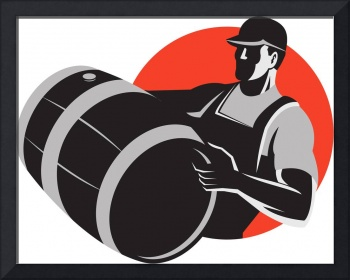 Man Carrying Wine Barrel Cask Keg Retro