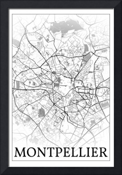 Montpellier, France, city map print.