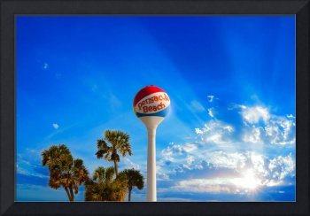 Pensacola Beach Ball Water Tower and Palm Trees