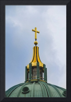 Berlin Cathedral. Close up of the cross on the top