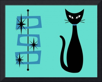 Black Cat with Mid Century Shapes on Aqua
