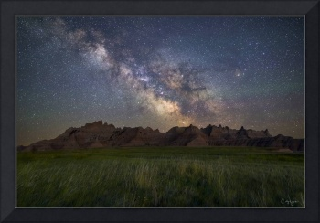 Milky Way over Badlands Mountain Range