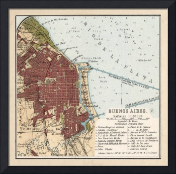 Vintage Map of Buenos Aires Argentina (1904)