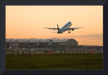 Commercial airplane taking off at Heathrow