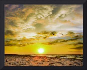 Destin Beach Sunrise-Orange White Clouds Art Print