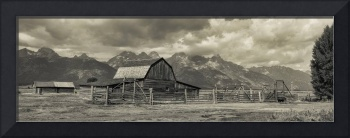 Wyoming Mormon Row Moulton Barn Silver Panorama