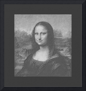 Mona Lisa cropped, B&W very large border