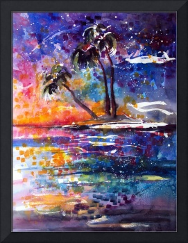 Impressionist Watercolor Starry Night Island