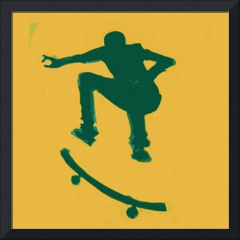 Skateboarder 2 . gold green (c)