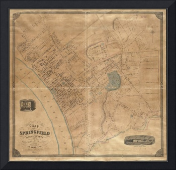 Vintage Map of Springfield MA (1851)