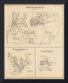 Vintage Map of Spofford and Chesterfield NH (1892)