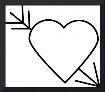 Black Heart Outline with Arrow Through It