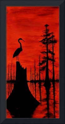 EGRET           LOUISIANA RED SUNSET SWAMP