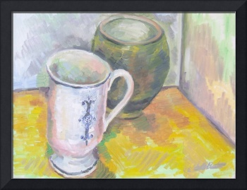 White Cup and Green Pot