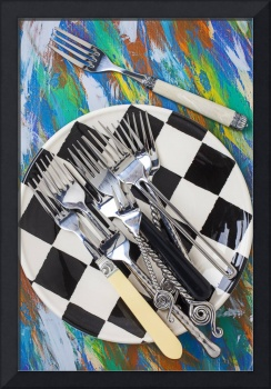 Forks on checker plate