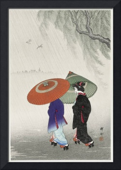Two Women in the Rain by Ohara Koson