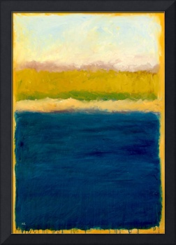 Lake Michigan Abstract with Blue and Gold