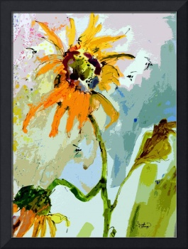 Modern Sunflower and Bees Art