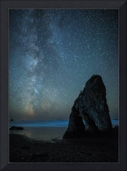 Milky Way over Ruby Beach sea stack