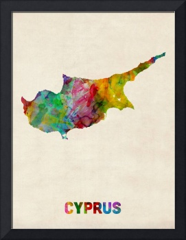 Cyprus Watercolor Map
