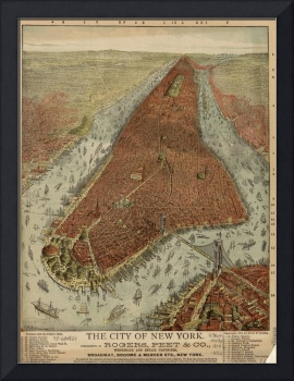 Vintage Pictorial Map of New York City (1879)