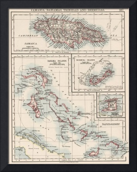 Vintage Map of Various Caribbean Islands (1906)