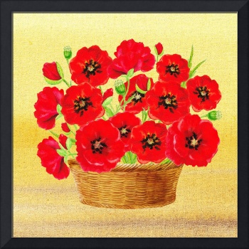 Basket With Red Poppies