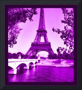 Eiffel Tower Seine River cropped violet border