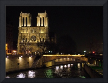 The Two Towers of Notre Dame at Night