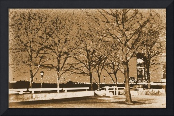 Sepia Photo of Hudson River Harbor