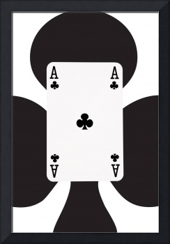 Playing Cards Ace of Clubs on White Background