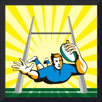 Rugby Player Scoring Try Retro